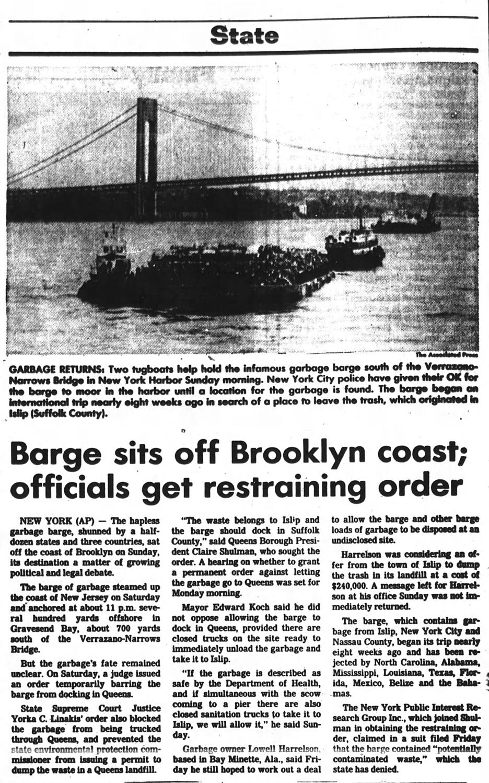 1987 News Articles - Mobro 4000